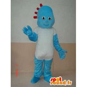 Rotsachtige blauwe sneeuwman mascotte met eenvoudige wit overhemd