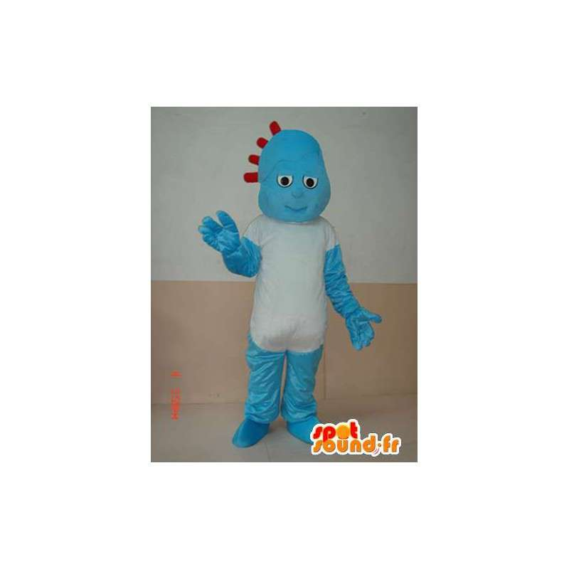 Rotsachtige blauwe sneeuwman mascotte met eenvoudige wit overhemd - MASFR00642 - man Mascottes