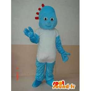Mascotte de bonhomme rocailleux bleu avec simple t-shirt blanc - MASFR00642 - Mascottes Homme