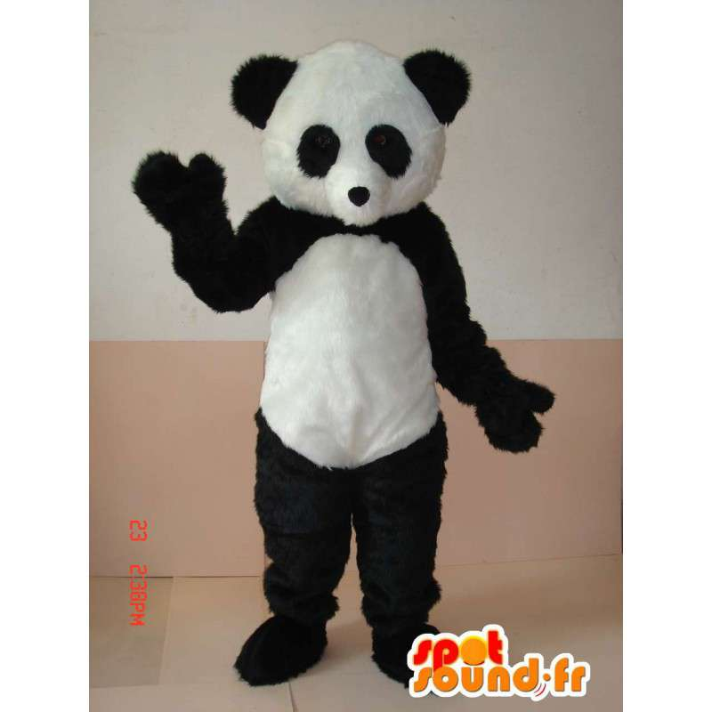 Mascotte eenvoudige zwart-witte panda. secundaire model - MASFR00643 - Mascot panda's