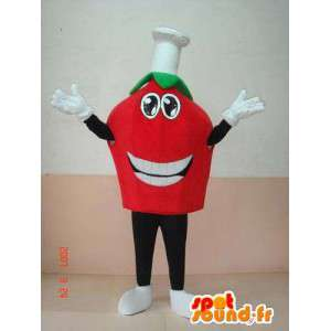 Μασκότ επικεφαλής της ντομάτας με καπάκι μαγειρέματος. εσπρέσο italiano