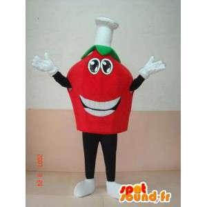 Mascot hoofd van de tomaat met koken cap. espresso italiano