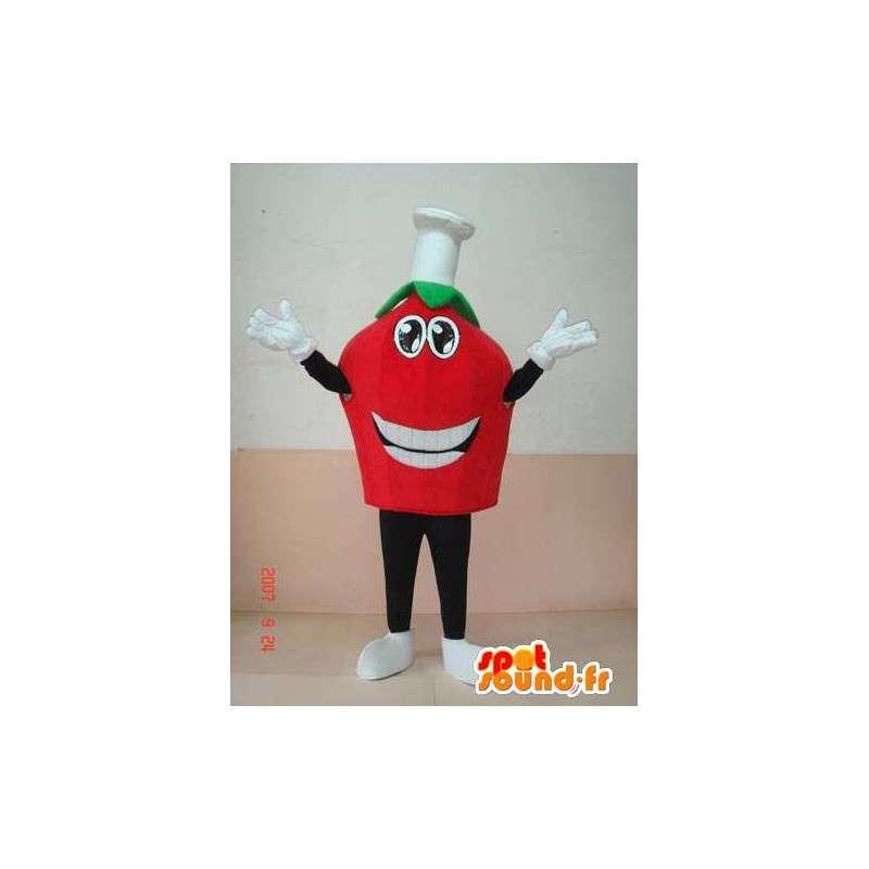 Mascot hoofd van de tomaat met koken cap. espresso italiano - MASFR00645 - fruit Mascot