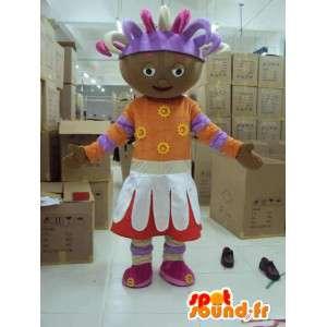 Mascotte princesse afro avec accessoires. Grand format de costume