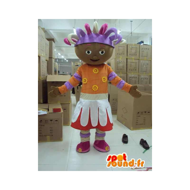 Mascotte princesse afro avec accessoires. Grand format de costume - MASFR00646 - Mascottes Fée