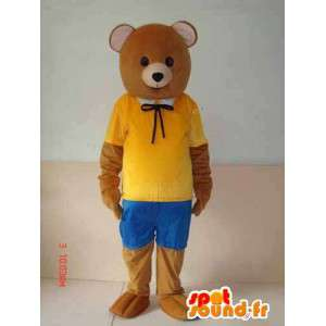 Brown bear mascot with yellow and blue accessories. Nature