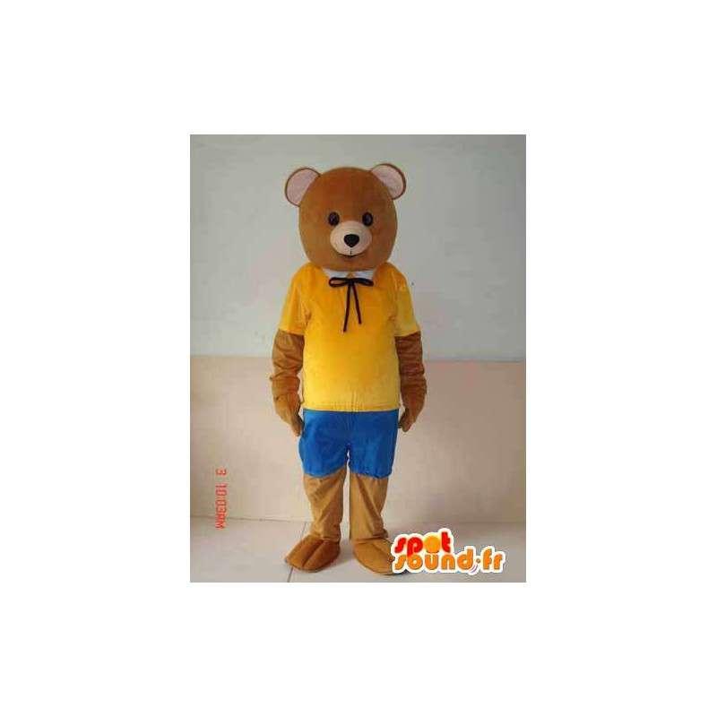 Mascotte bruine beer met gele en blauwe accessoires. natuur - MASFR00647 - Bear Mascot