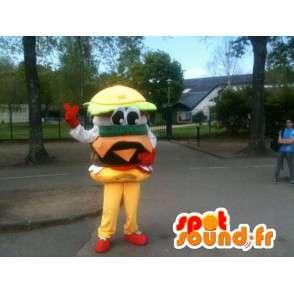 Mascotte Hamburger - Miam le sandwich burger - Envoi Express - MASFR00253 - Mascottes Fast-Food