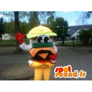Hamburger mascot - Yummy burger sandwich - Express Delivery - MASFR00253 - Fast food mascots