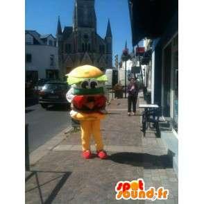 Mascot Hamburger - Yum sanduíche de hambúrguer - Entrega expressa - MASFR00253 - Rápido Mascotes Food