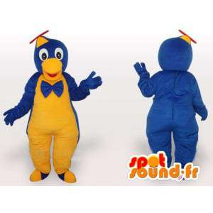 Bird mascot jumpsuit yellow and blue hat helicopter
