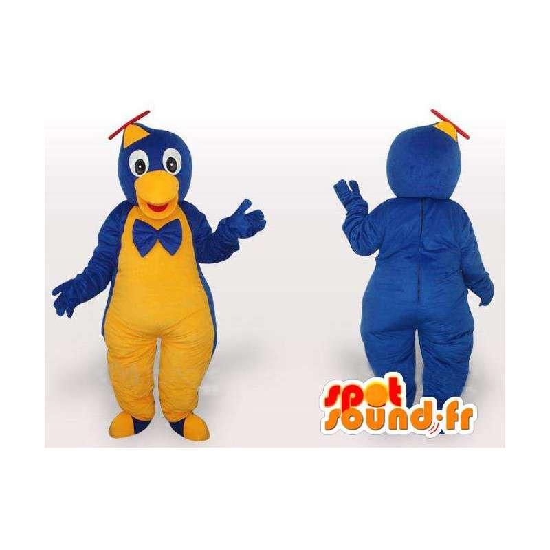 Mascotte oiseau à salopette jaune et bleue et casquette hélicoptère - MASFR00649 - Mascotte d'oiseaux