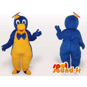 Bird mascot jumpsuit yellow and blue hat helicopter - MASFR00649 - Mascot of birds