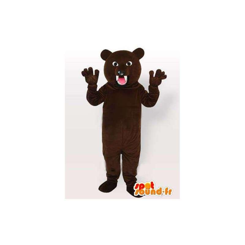 Orso bruno mascotte pronti ad attaccare con denti affilati - MASFR00652 - Mascotte orso