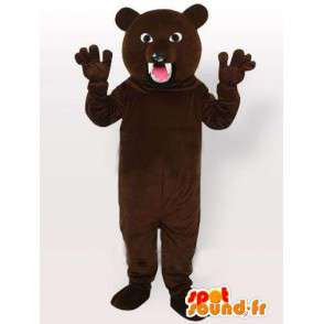 Mascot bruine beer direct vallen met scherpe tanden - MASFR00652 - Bear Mascot