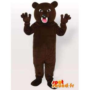 Mascotte ours marron prêt à attaquer avec dents acérées - MASFR00652 - Mascotte d'ours