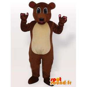 Cute brown dog mascot. Suit for festive evenings