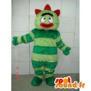Μασκότ άνθρωπος με πράσινες ρίγες - κόκκινο τρελό κοστούμι