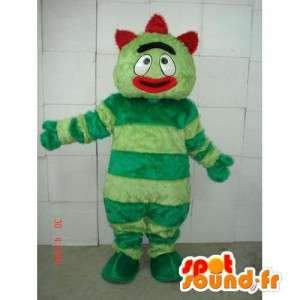 Snowman mascot with green stripes - red costume crazy