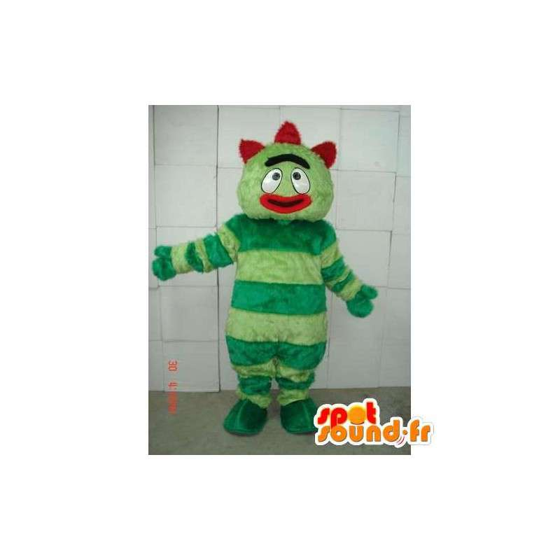 Μασκότ άνθρωπος με πράσινες ρίγες - κόκκινο τρελό κοστούμι - MASFR00654 - Ο άνθρωπος Μασκότ