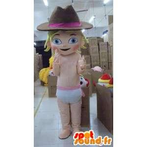 Mascotte de jeune fille bébé avec chapeau de cow-boy spécial fête