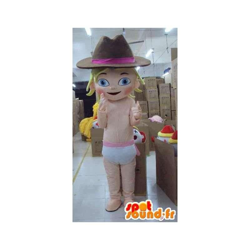 Mascotte de jeune fille bébé avec chapeau de cow-boy spécial fête - MASFR00655 - Mascottes Bébé