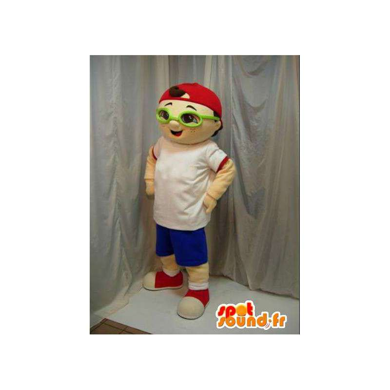 Jongen mascotte met groene glazen en rode dop. Street. - MASFR00656 - Mascottes Boys and Girls