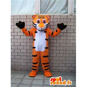 Mascot oranje en zwarte tijgerstrepen. Special savanne Costume