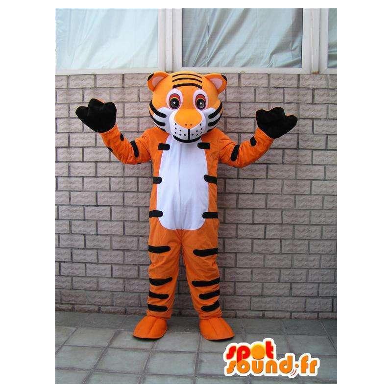 Μασκότ πορτοκαλί και μαύρες ρίγες τίγρη. Κοστούμια Ειδική σαβάνα - MASFR00658 - Tiger Μασκότ