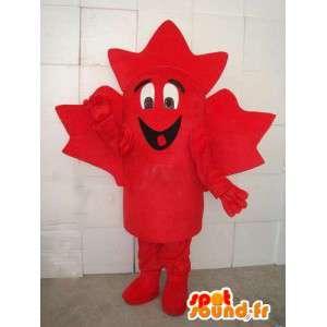 Mascot hoja de arce roja canadiense.Traje Bosque