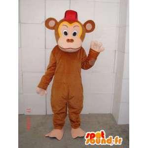 Mascotte de singe trublion marron spécialement pour soirées