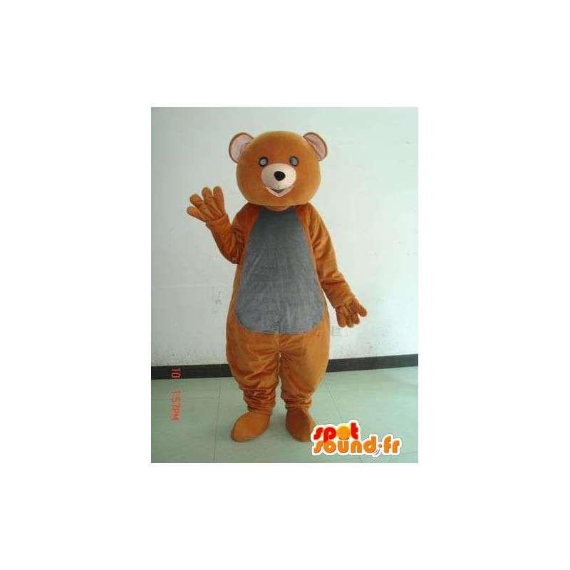 Mascotte ours marron et gris. Simple déguisement populaire festif - MASFR00661 - Mascotte d'ours