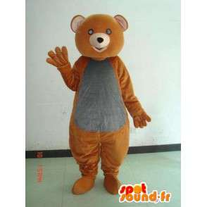 Mascot καφέ και σταχτιές. Απλή εορταστική λαϊκή φορεσιά - MASFR00661 - Αρκούδα μασκότ