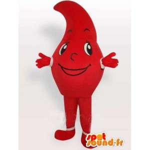 Mascot czerwony kropla deszczu podobny do rozdarcia lub przecinkiem