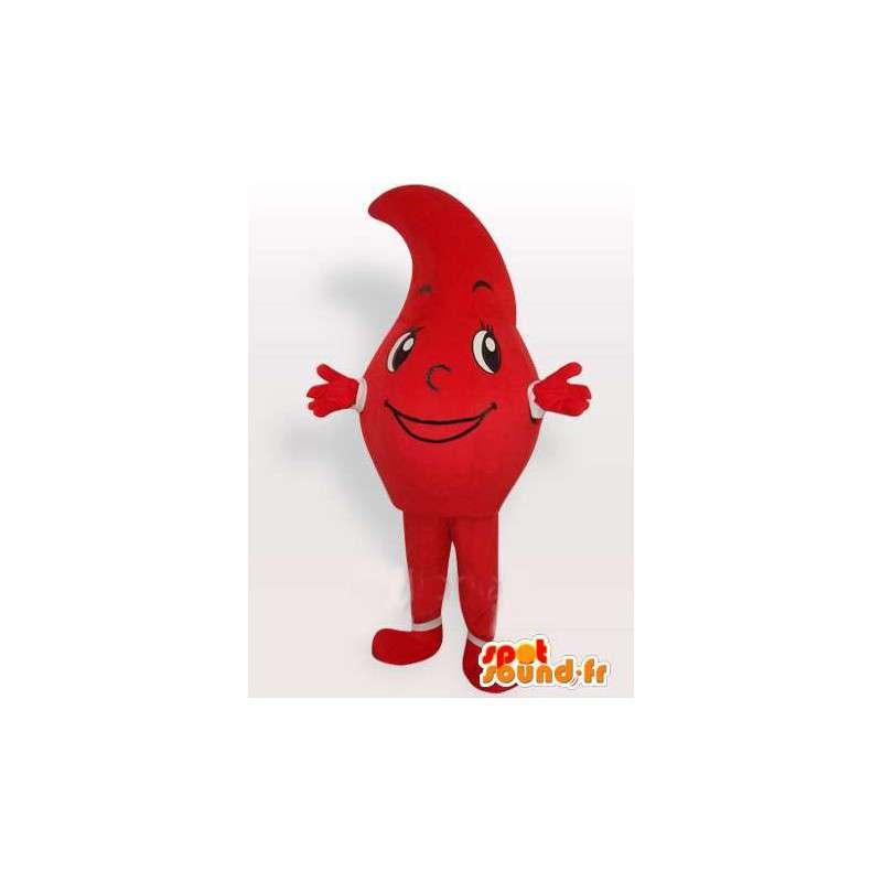 Mascot červená Raindrop podobný roztržení nebo čárkou - MASFR00662 - Neutajované Maskoti