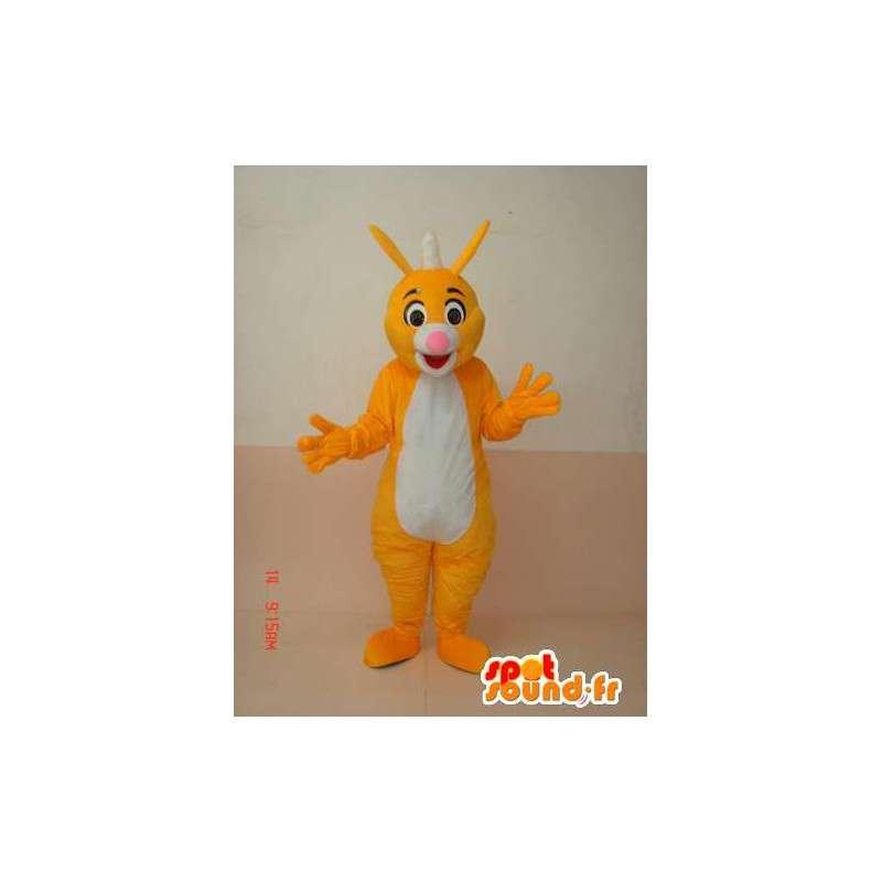 Gele en witte vos mascotte met een piek Iroquois - MASFR00663 - Fox Mascottes
