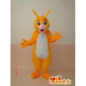 Mascotte de renard jaune et blanche avec crête d'iroquois - MASFR00663 - Mascottes Renard