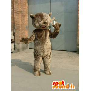 Gray teddy bear mascot - Costume teddy bear type