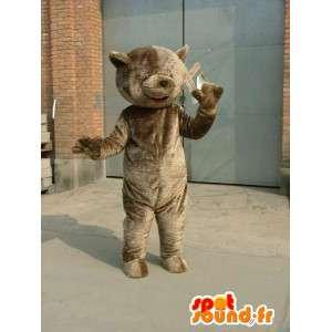 Maskot velký šedý teddy - medvěd kostým plyšový druh