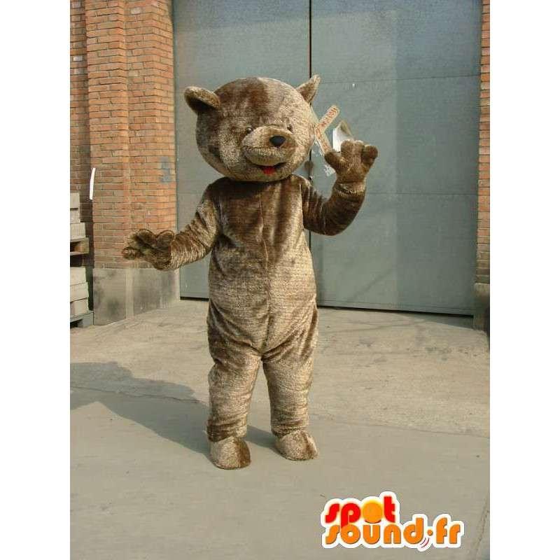 Maskot stor grå teddy - bære kostyme plysj slag - MASFR00664 - bjørn Mascot