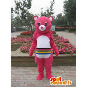 Pink bear mascot with multicolored stripes - Customizable