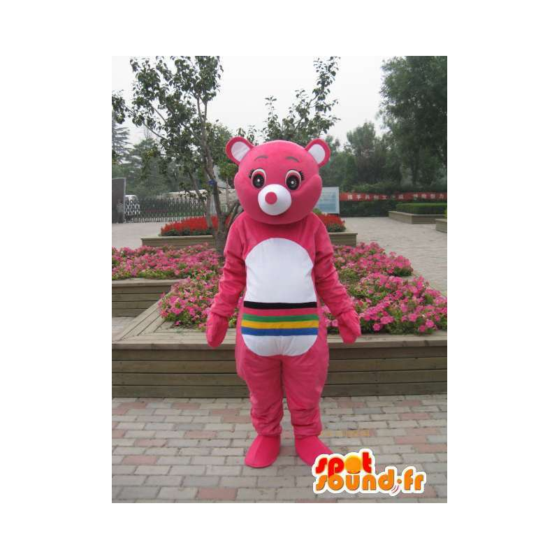 Pink bear mascot with multicolored stripes - Customizable - MASFR00665 - Bear mascot