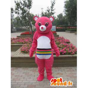 Mascotte ours rose avec rayures multicouleurs - Personnalisable - MASFR00665 - Mascotte d'ours