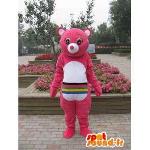 Pink medvěd maskot s vícebarevného pruhy - přizpůsobitelný - MASFR00665 - Bear Mascot