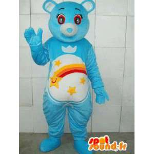 Blue bear mascot with stripes and shooting stars. Customizable