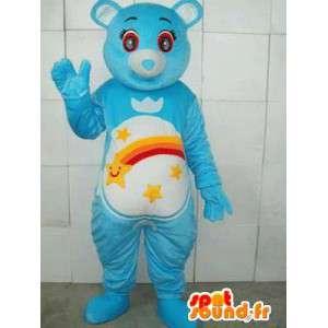 Orso mascotte blu con strisce e stelle cadenti. Personalizzabile