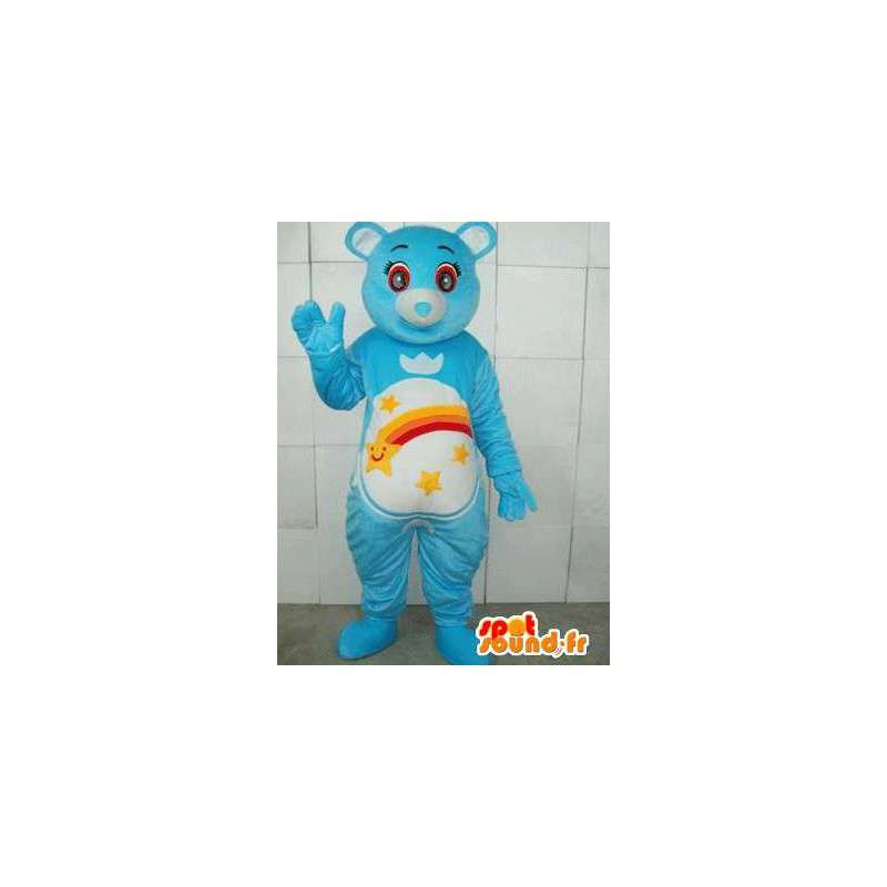 Blue bear mascot with stripes and shooting stars. Customizable - MASFR00666 - Bear mascot