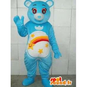 Orso mascotte blu con strisce e stelle cadenti. Personalizzabile - MASFR00666 - Mascotte orso