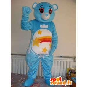 Mascotte bjørn med blå striper og stjerneskudd. tilpasses - MASFR00666 - bjørn Mascot