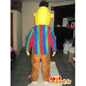 Singolo mascotte testa dell uomo con giallo pantaloni marroni - MASFR00651 - Umani mascotte